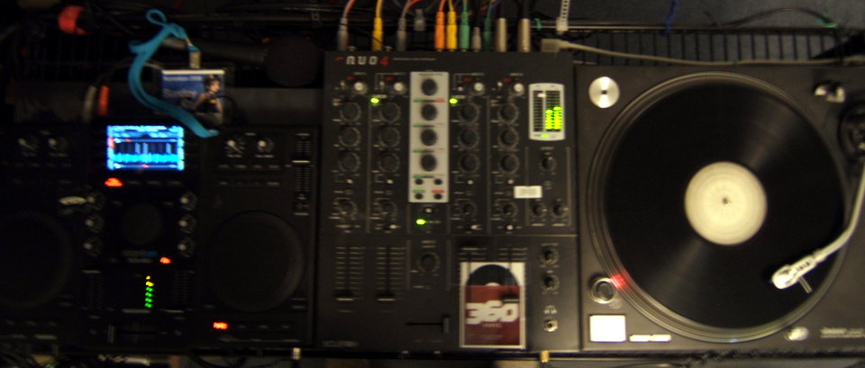 Blurry photo of DJ Gear